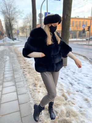 Fox fur coat black