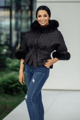 Hooded jacket with fox fur in black
