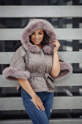 Hooded jacket with fox fur in cappuccino