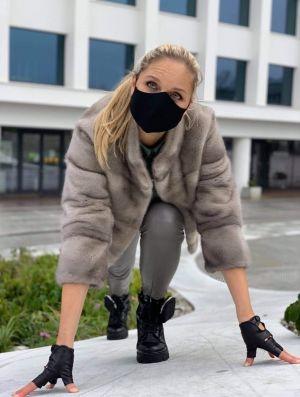 Mink fur coat silver colour short
