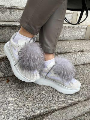 Shoe accessory fox blue silver