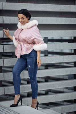 Hooded jacket with fox fur in pink
