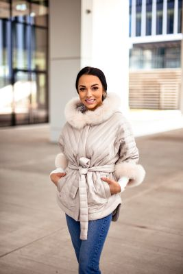 Hooded jacket with fox fur beige color