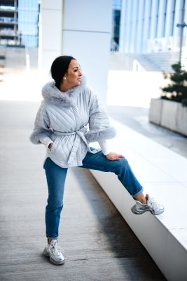 Hooded jacket with fox fur grey color