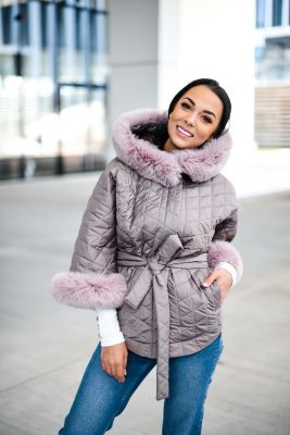 Hooded jacket with fox fur cappuccino color