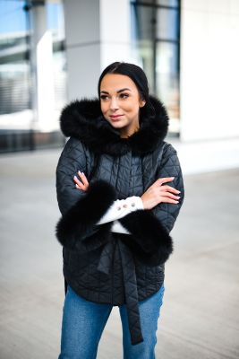 Hooded jacket with fox fur black color