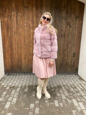 Mink fur coat dusty rose