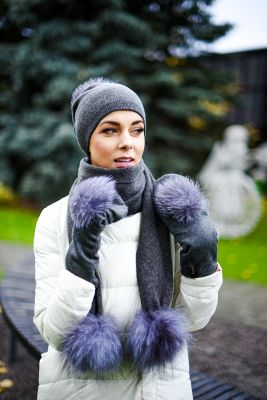 Knitted dark grey cashmere and wool hat, scarf and gloves set