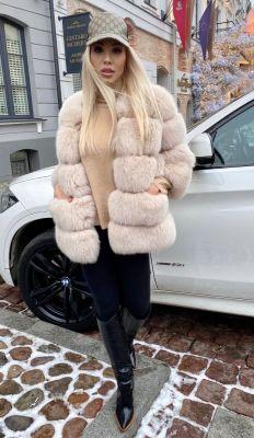 Fox fur coat in beige