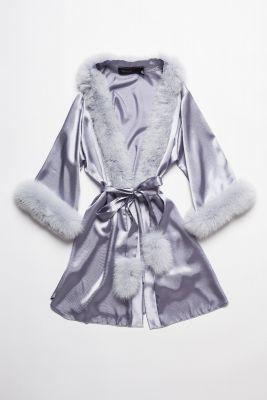 Satin robe with fox fur decor  grey
