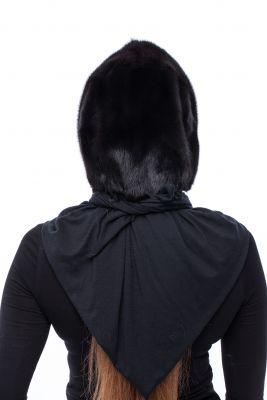 Mink fur hood Black