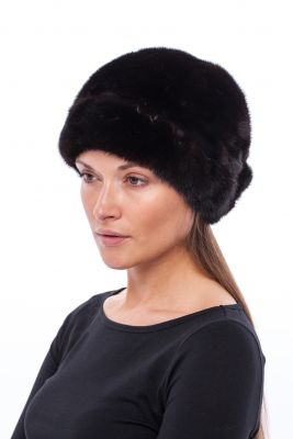 Fur hat with flower on the back mink Black