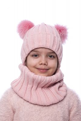 Knitted pink wool hat with two pompoms (pink)