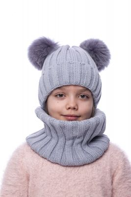Knitted grey  wool hat with two pompoms (grey)