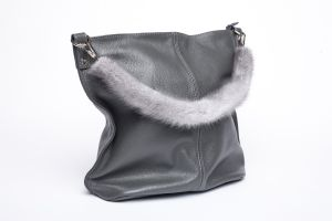 Bag handle mink fur grey