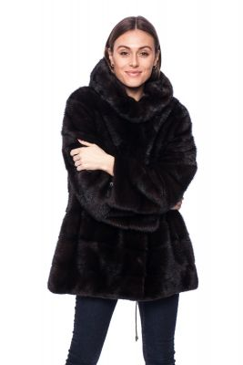 Mink fur coat brown with a hood
