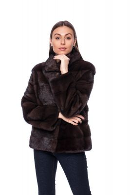 Mink fur coat brown short