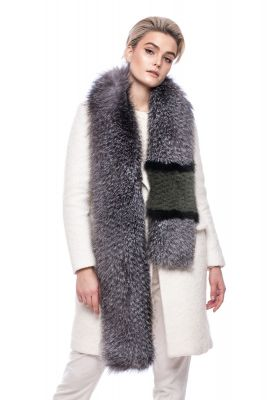 Perforated scarf fox blue silver