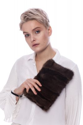 Hand bag from mink fur (brown)