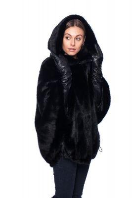 Mink fur coat with hoodie, black