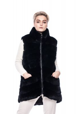 Long vest of black rex