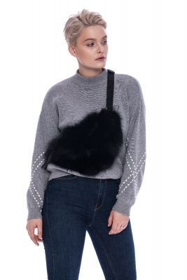 Bum bag from fox fur in black