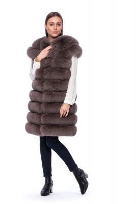 Long vest of brown fox fur