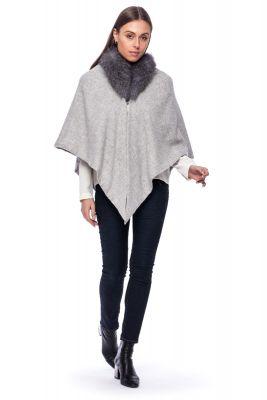 Cashmere scarf with fox fur grey