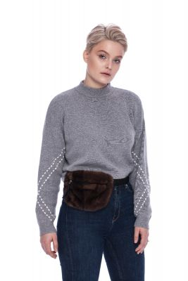 Fanny pack from mink fur in brown