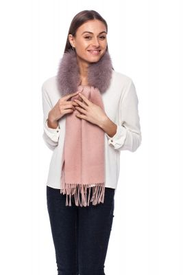 Cashmere and wool scarf with fox fur pink