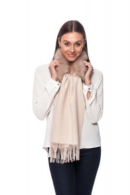 Cashmere and wool scarf with fox fur beige
