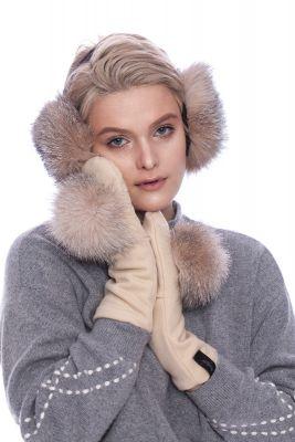 Beige wool mittens with golden blue silver fox pompom