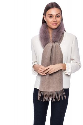 Cashmere and wool scarf with fox fur brown