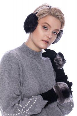 Wool gloves with  REX fur