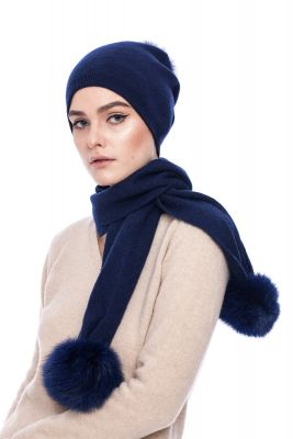 Cashmere and wool scarf blue with pompoms blue fox
