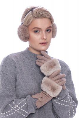 Wool gloves with beige REX fur