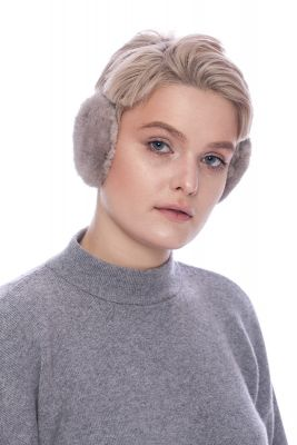 Earmuffs with real mink fur in grey