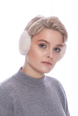 Earmuffs  with real mink fur in beige
