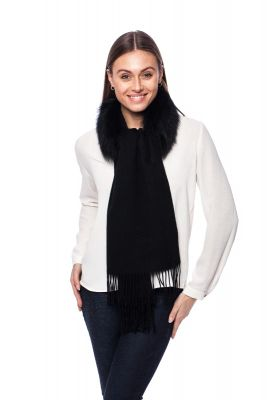 Cashmere and wool scarf with fox fur black
