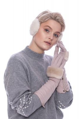 Long wool gloves with beige mink fur