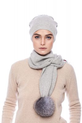 Cashmere and wool scarf grey with pompoms blue silver fox