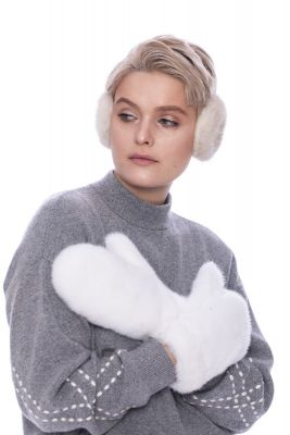 Mittens full from mink both sides natural White