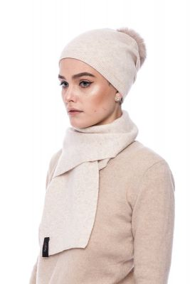 Knitted beige  cashmere and wool set