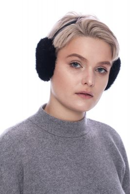 Earmuffs black with real mink fur