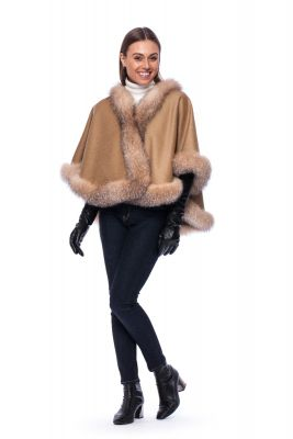 Wool and cashmere poncho beige with golden silver fox fur