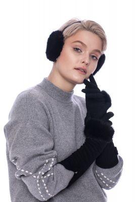 Long wool gloves with black mink fur