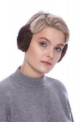 Earmuffs with real mink fur in brown