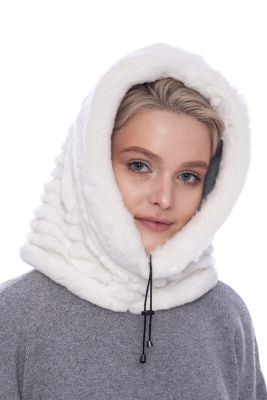 Hood with chinchilla white REX fur