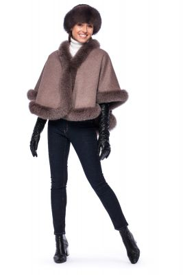 Wool and cashmere poncho brown with brown fox fur