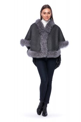 Wool and cashmere poncho grey with blue silver fox fur